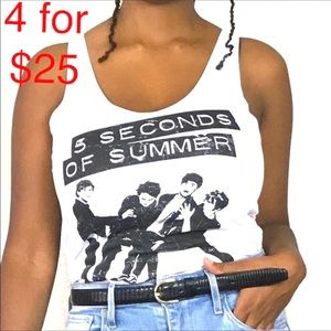 5 Seconds of summer white band tank top size Sm